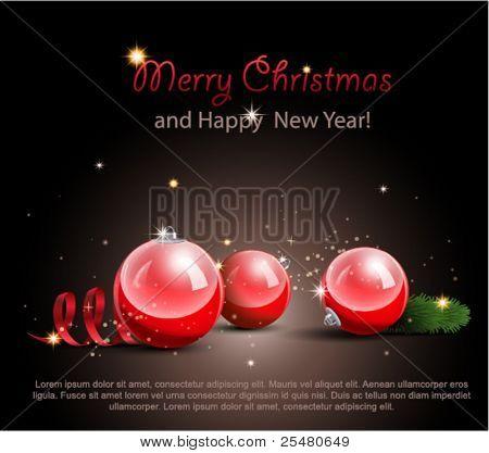 Christmas Ornaments on black.