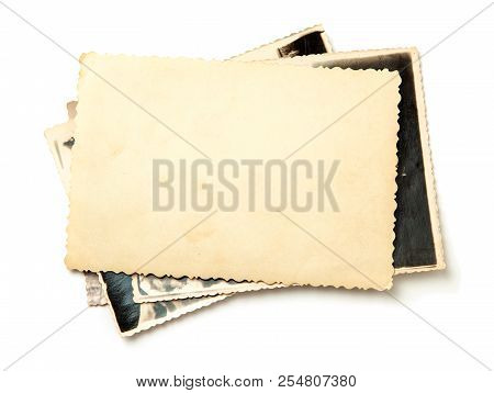 Stack Old Photos Isolated On White Background. Mock-up Blank Paper. Postcard Rumpled And Dirty Vinta