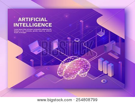 Artificial Intelligence Landing Pagewith Electric Brain And Neural Network, Isometric 3d Illustratio