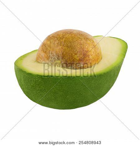 Half Of Fresh Avocado Fruit Over White Background
