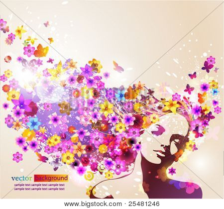 Portrait of beautiful young woman in sensual state covered with flowers. Vector Illustration. Eps10.