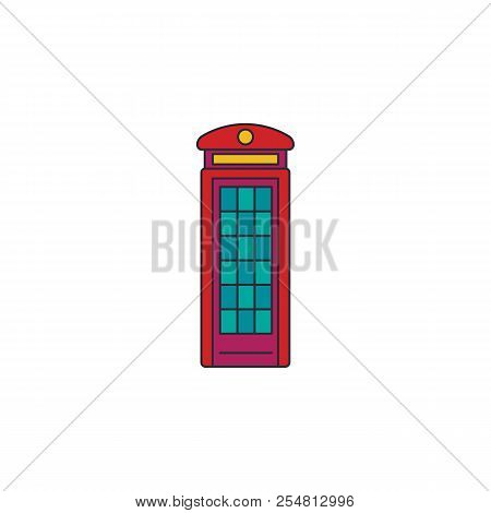 London Phone Box Icon. Cartoon London Phone Box Vector Icon For Web Design Isolated On White Backgro