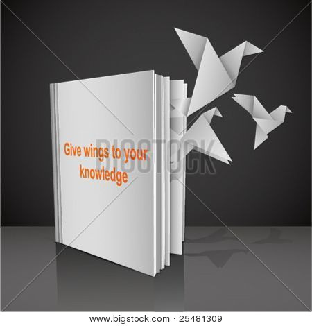 "Empty white book with symbolic title ""Give wings to your knowledge"" and with origami paper birds fly from it. Vector Illustration."