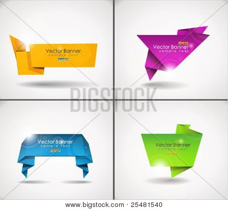 Colorful set of origami speech bubble. EPS 10.