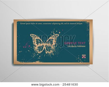 Business/Calling/Visiting Chipboard Card.Butterfly. Two colors card for printing  the old fashioned way, but trendy. Print on blank chipboard textured paper. Size  88.9×50.8mm/3.5×2in.