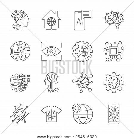 Industry 4.0, Artificial Intelligence And Internet Of Things Icons Set. Digitalization Concept Enter