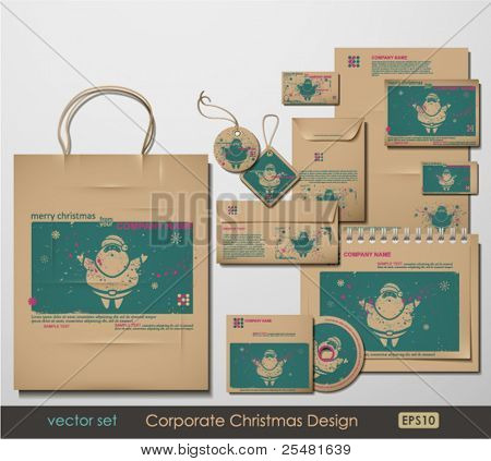 Corporate Christmas Design. Santa Clause theme. Two colors different material for printing  the old fashioned way, but trendy. Print on blank brown paper. Vector Illustration.