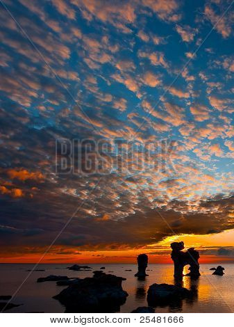 A Limestone Stack At Sunset In Gotland