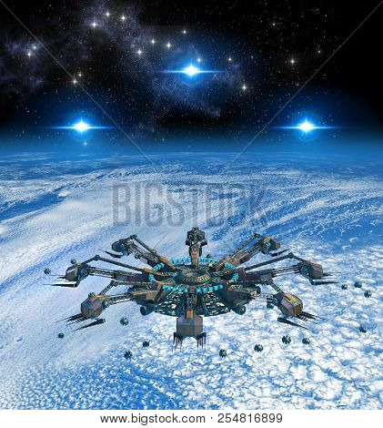 3d Rendering Of Spider-like Alien Spaceships In A Battle Above Earth, For Futuristic, Fantasy Or Int
