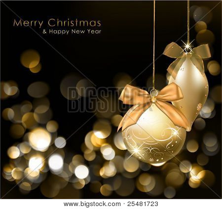 Golden Christmas lights background with ornaments. Vector Illustration.