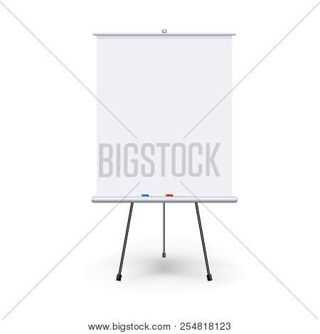 Vector Realistic Blank Flipchart With Three Legs Isolated On White Clean Background. White Roll Up B