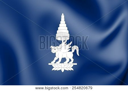 3d Flag Of The Kingdom Of Champasak (1713-1947). 3d Illustration.
