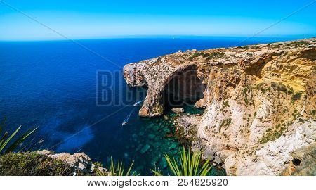 Blue Grotto Malta Landmark Ultra Wide Shot Panoramic