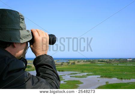 Man Observing Wildlife (Aiguamolls Emporda, Spain)