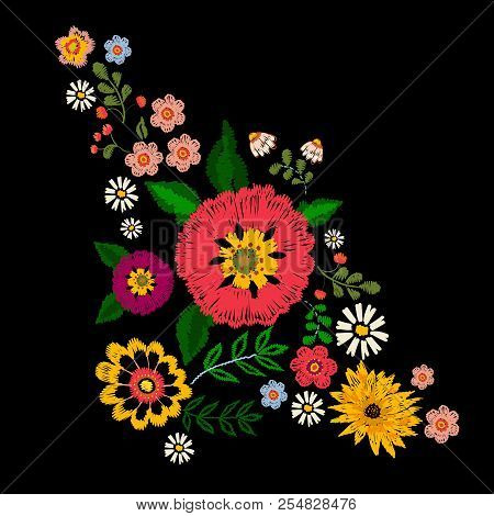 Embroidery Textile Pattern With Ethnic Flowers. Vector Embroidered Traditional Floral Design For Fas