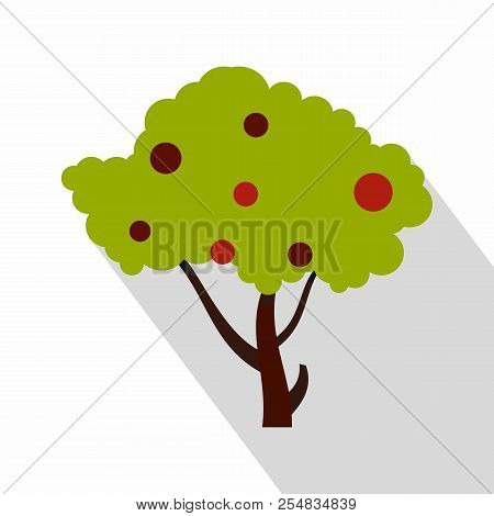 Apple Tree With Red Apples Icon. Flat Illustration Of Apple Tree With Red Apples Icon For Web