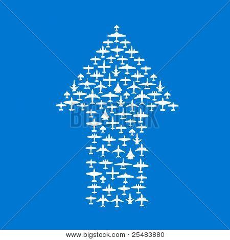 Top arrow of vector airplanes