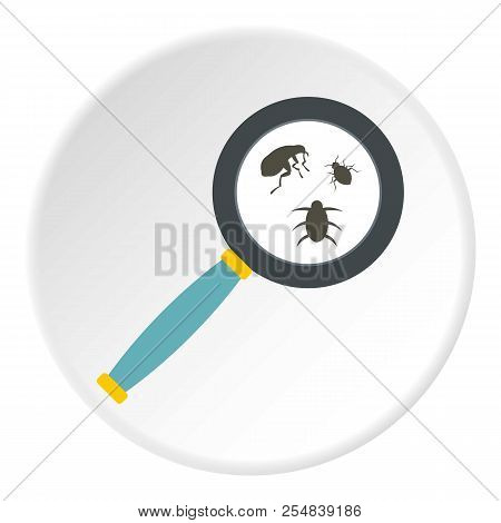 Magnifier And Insects Icon. Flat Illustration Of Magnifier And Insects Icon For Web