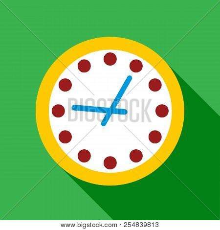 Wall Clock With Yellow Edging Icon. Flat Illustration Of Wall Clock With Yellow Edging Icon For
