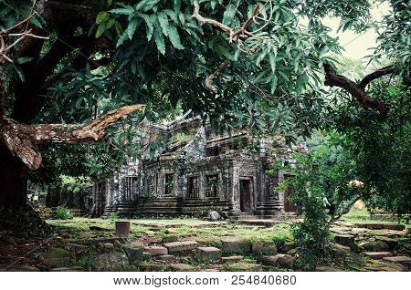 Champasak / Laos - Jul 06 2011: Wat Phu An Ancient Monument And Unesco Protected Heritage Site Of So