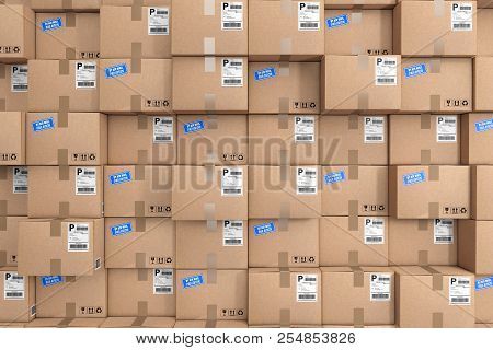 Logistics Concept. Stack Of Rows Cardboard Boxes In Warehouse Extreme Closeup. 3d Rendering