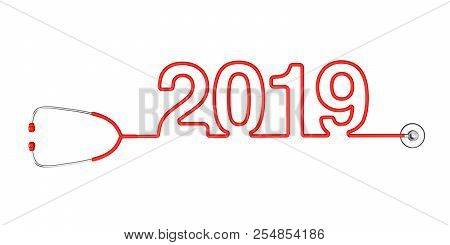 Red Stethoscope Tubing Forming New 2019 Year Sign On A White Background. 3d Rendering