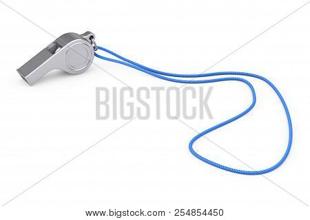 Classic Metal Coaches Whistle With Rope On A White Background. 3d Rendering