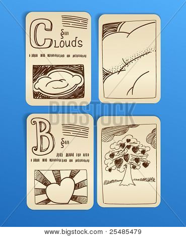 vintage style pictures on paper sheets. set 1