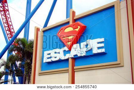 Gold Coast, Australia - April 16 2008: Superman Escape Accelerator Rollercoaster At Warner Bros. Mov