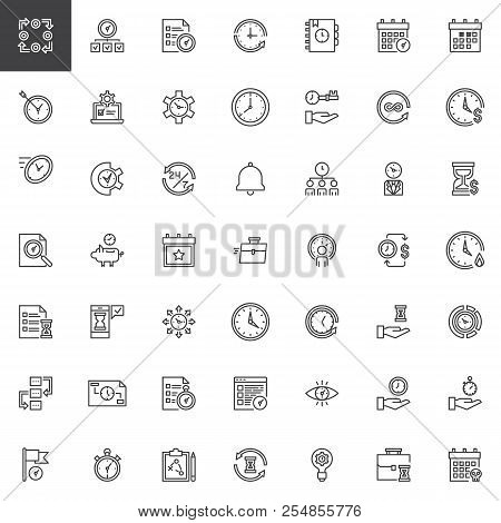 Time Management Outline Icons Set. Linear Style Symbols Collection Line Signs Pack Vector Graphics.