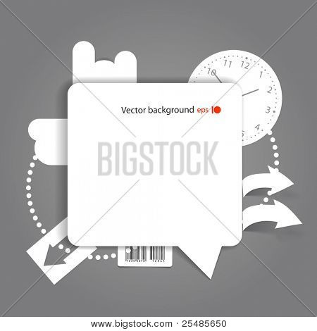Abstract background of blank white speech cloud on the wall