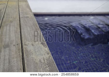 Small Backyard With Small Swimming Pool Spa, Stock Photo