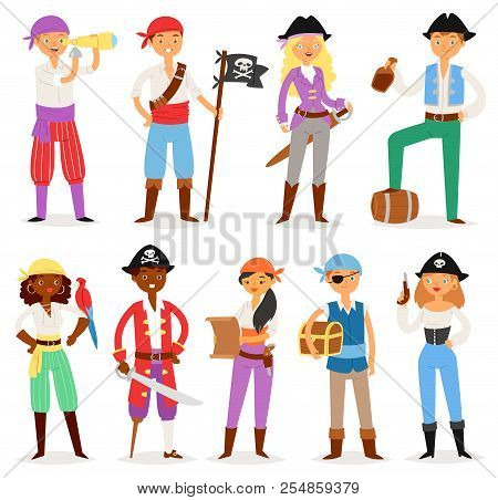 Pirate Vector Piratic Character Buccaneer Man Or Woman In Pirating Costume In Hat With Sword Illustr