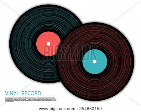 Vinyl Records Isolated Vector Musical Album Cover Template. Cool Music Symbols, Vintage Style Vinyl