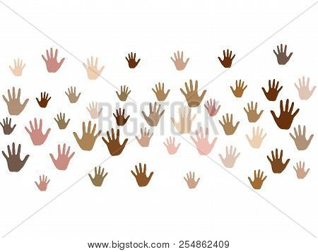 Hands with skin color diversity vector graphic design. Cohesion concept icons, social, national and racial issues symbols. Helping hand prints, human palms - friendship, support, teamwork concept. poster
