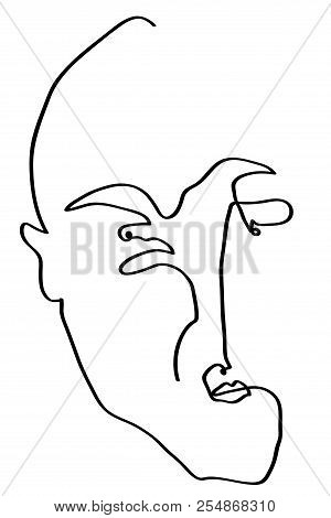 Man Of Sad Face.  Simple Line Drawing Of Man Of Unhappy, Desperate  Face