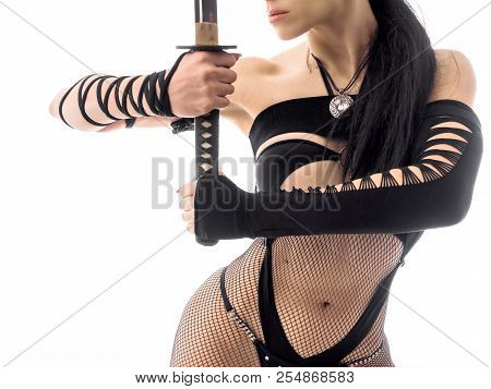 female perfect body with a samurai katana sword. Cosplay costume. Close up view. poster