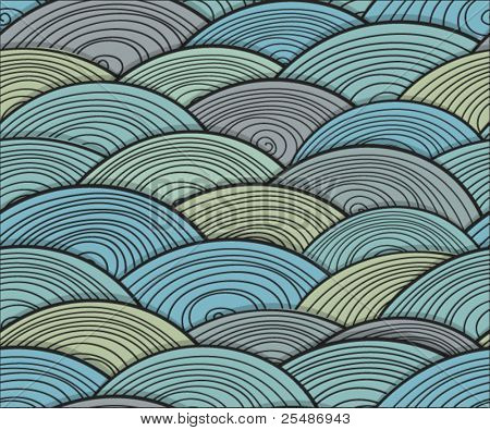 Seamless background of curled abstract waves