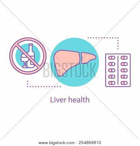 Liver Health Concept Icon. Alcohol And Antibiotics Detoxification. Metabolism Idea Thin Line Illustr