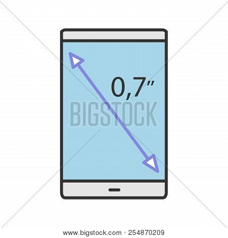 Smartphone Screen Size Color Icon. Display Diagonal Inch Size. Isolated Vector Illustration