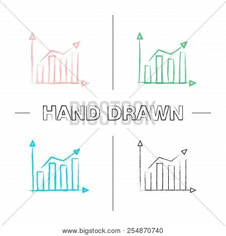 Statistics Hand Drawn Icons Set. Market Growth Chart. Profit Rising. Statistics Diagram. Color Brush