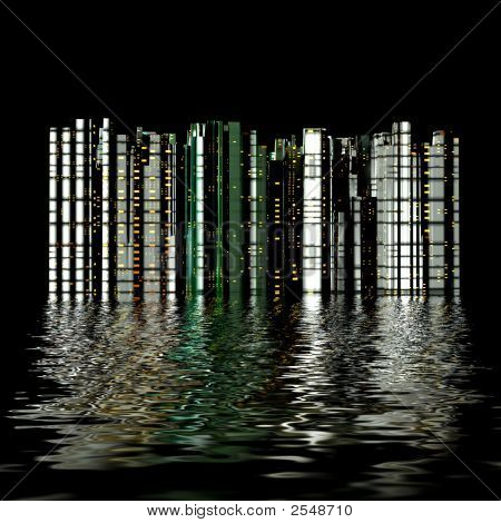 3D City Reflection In Water