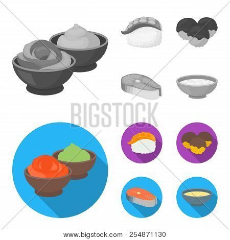 Wasabi Sauce And Ginger, Salmon Steak, Octopus. Sushi Set Collection Icons In Monochrome, Flat Style