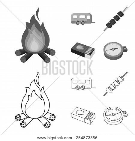 Trailer, Shish Kebab, Matches, Compass. Camping Set Collection Icons In Outline, Monochrome Style Ve