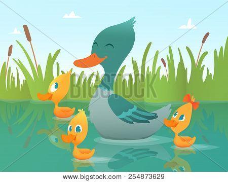 Background Cartoon Duck. Illustrations Of Funny Ducks