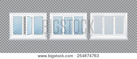 Realistic glass transparent plastic windows with window sills and sashes. poster