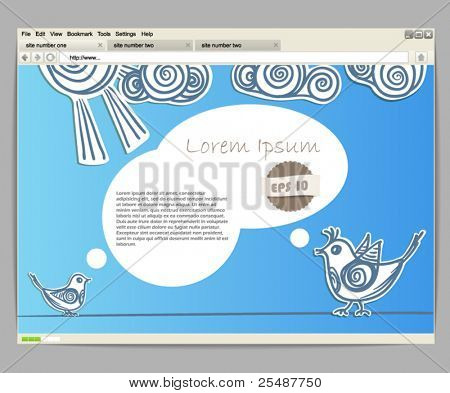Opened browser window template. Blue site template with birds