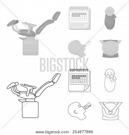 Calendar, Newborn, Stomach Massage, Artificial Feeding. Pregnancy Set Collection Icons In Outline, M