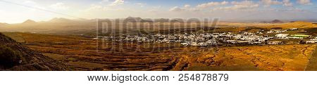 Panorama Of Teguise Town With Desert Landscape On Lanzarote Island