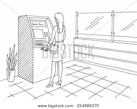Bank Interior Graphic Black White Sketch Illustration Vector. Woman Withdrawing Cash From An Atm